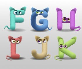 Fur monster alphabet vector