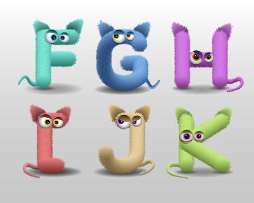 Fur monster alphabet vector