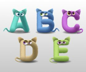 Fur monster cartoon cute alphabet vector