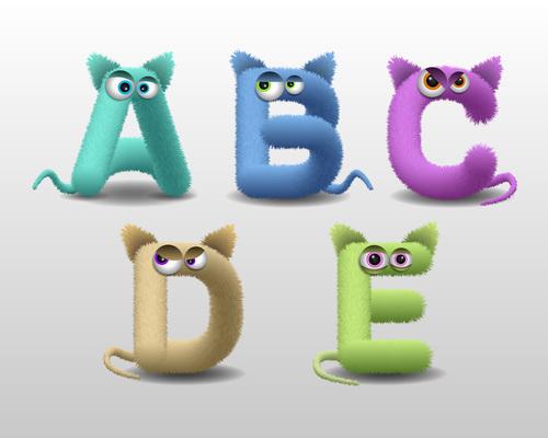 Fur monster cartoon cute alphabet vector
