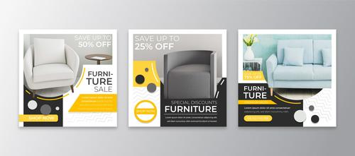 Furniture half price sale flyer vector