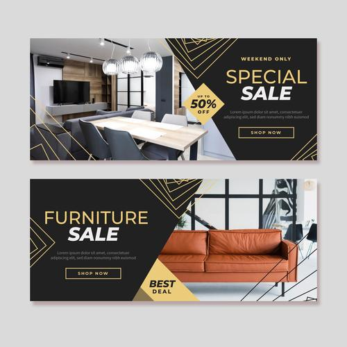 Furniture special sale flyer vector