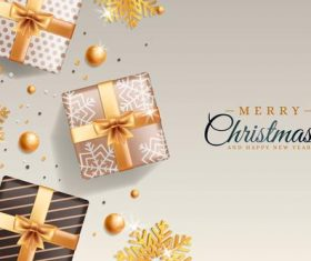 Gift box and golden snowflake background Christmas card vector