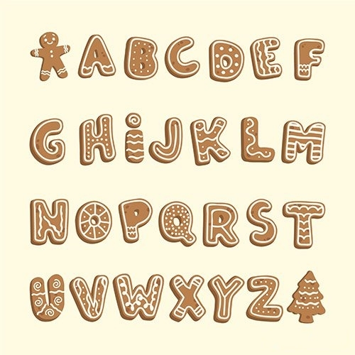 Gingerbread christmas alphabet vector