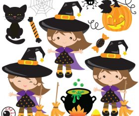 Girl dressed up as wizard halloween vector