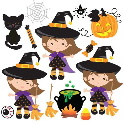 Girl dressed up as wizard halloween vector