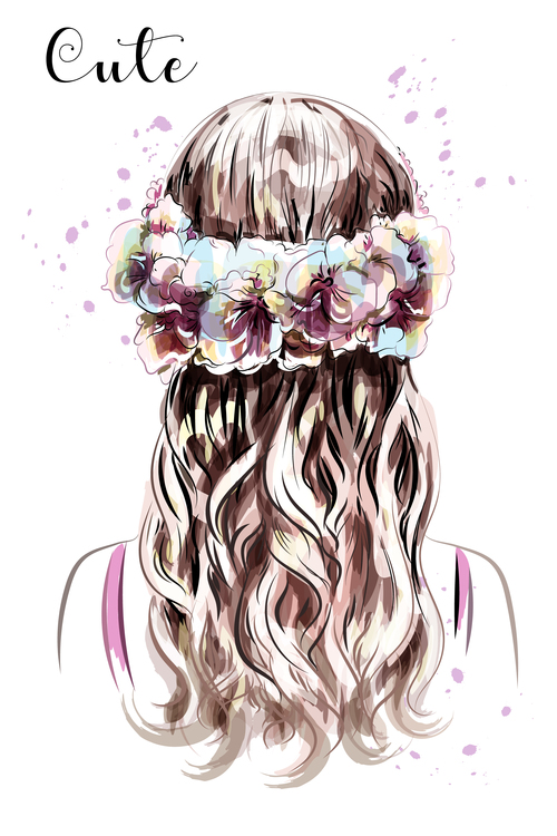 Girl hairstyle watercolor illustration vector