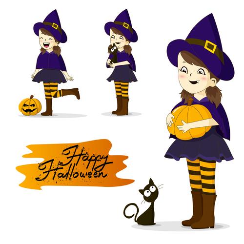 Girl halloween vector