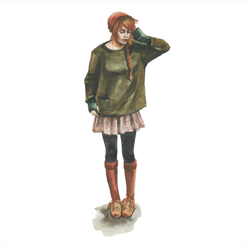 Girl watercolor illustration vector