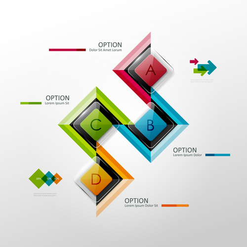 Glass button abstract infographics vector