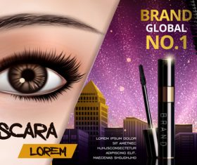 Global brand mascara advertising vector