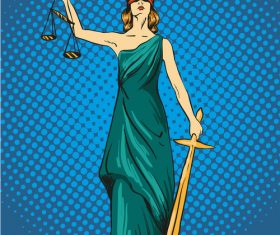 Goddess of justice cartoon vector