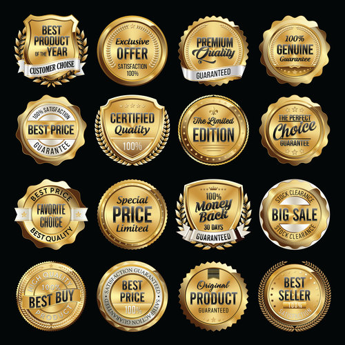 Gold badge label vector