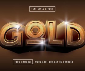 Gold editable font effect text vector on brown background
