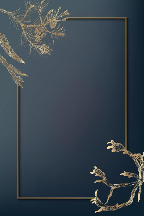 Gold frame decorated with antlers social background vector