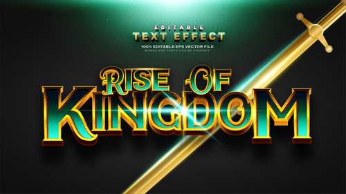 Gold green font text effect in vector