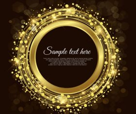 Gold round frames vector