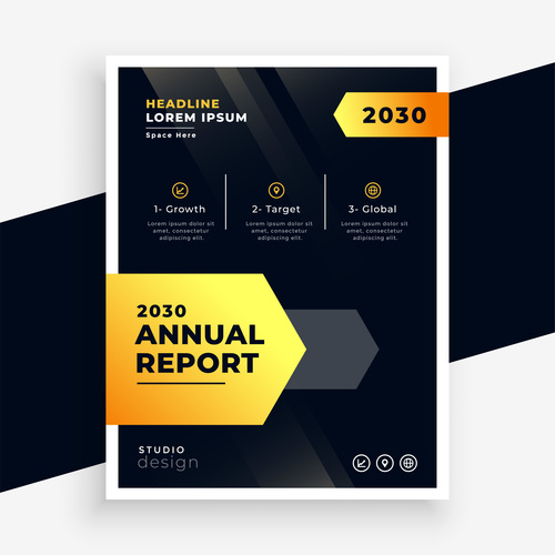 Golden and black cover brochure vector