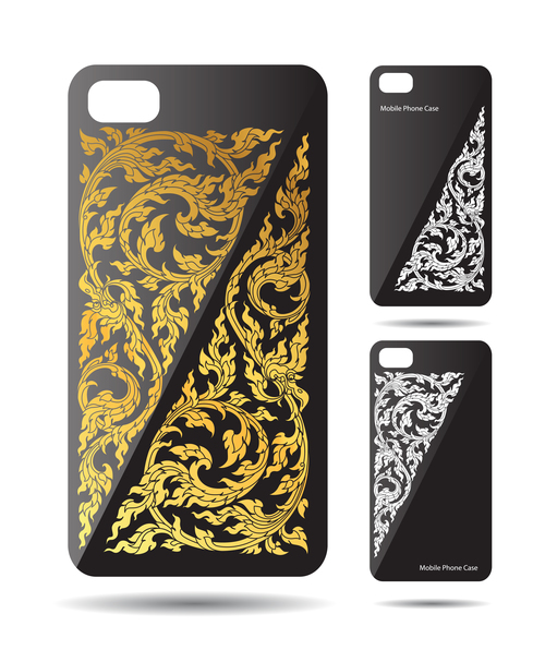 Golden and silver art pattern phone cases cover vector
