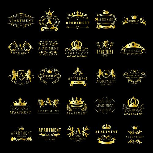 Golden apartment logo vector