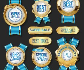 Golden badge label and blue ribbon vector