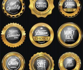 Golden badges and labels vector