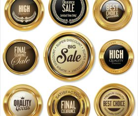 Golden badges retro vintage collection vector