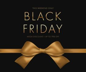 Golden bow black friday flyer vector