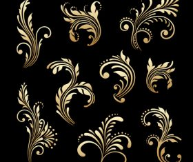 Golden decorative flower vector