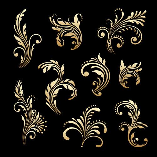 Golden decorative flower vector