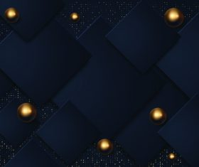 Golden dots black square combination background vector