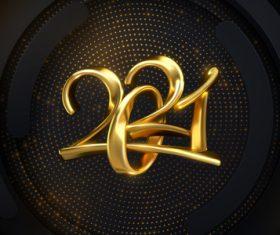 Golden font 2021 background vector