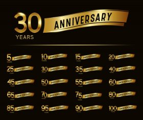 Golden label celebrating anniversary vector
