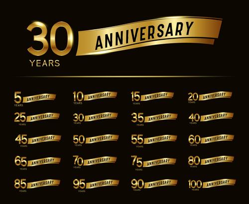 Golden label celebrating anniversary vector
