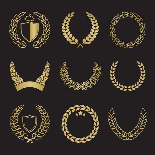 Golden laurel silhouette vector