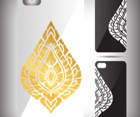 Golden leaf art pattern phone cases cover vector
