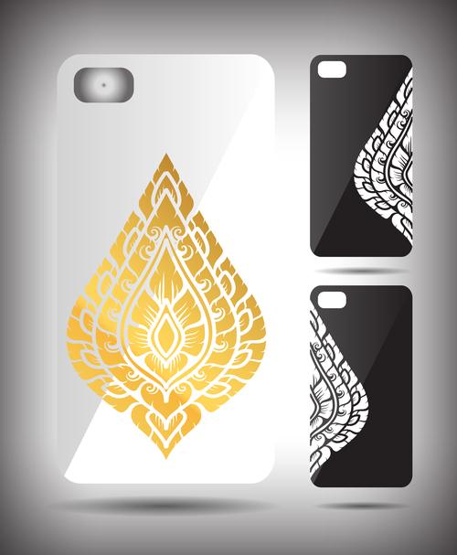 Golden leaf art pattern phone cases cover vector
