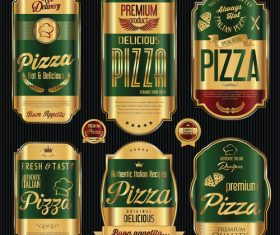Golden luxury pizza labels vector