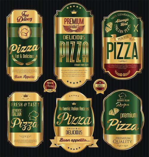Golden luxury pizza labels vector