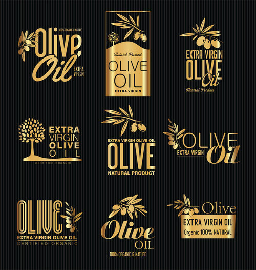 Golden olive oil label vector