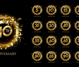 Golden pattern decoration celebrating anniversary logo vector