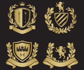 Golden shield silhouette heraldry vector