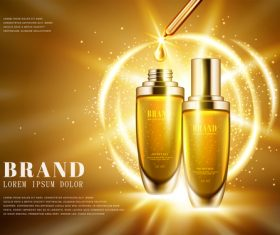 Golden shiny background skincare advertising vector