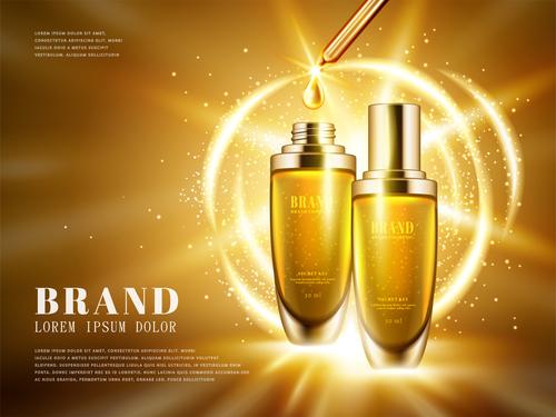Golden shiny background skincare advertising vector