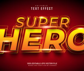 Golden super hero font text effect in vector