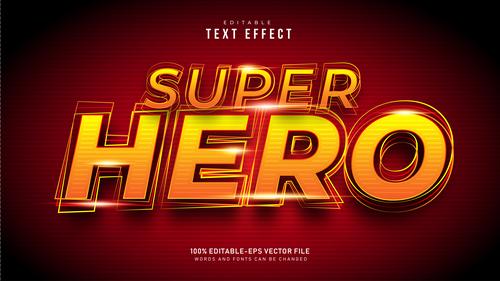 Golden super hero font text effect in vector