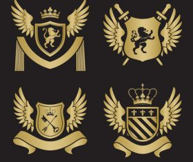 Golden wings shield silhouette heraldry vector