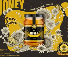 Good substitute for sugar pure wild honey advertising vector