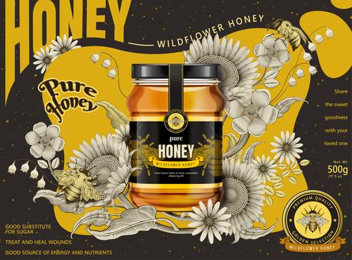 Good substitute for sugar pure wild honey advertising vector