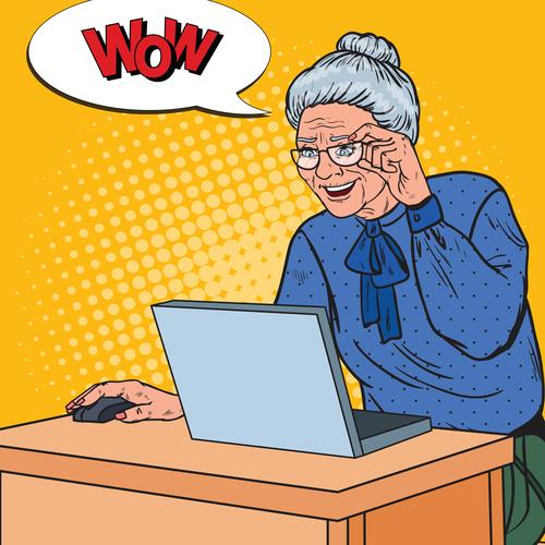 Grandmother surfing the internet cartoon vector
